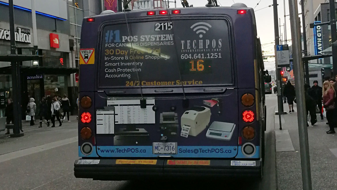 TechPOS ads on all Transit Buses in Vancouver